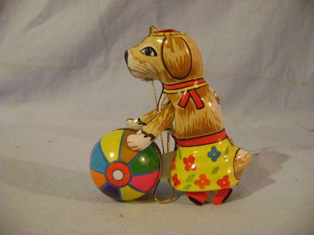 German Tin Toy Dog With Ball Found At Www Rubylane Com