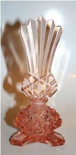 Signed Czechoslovakia perfume bottle pink cut