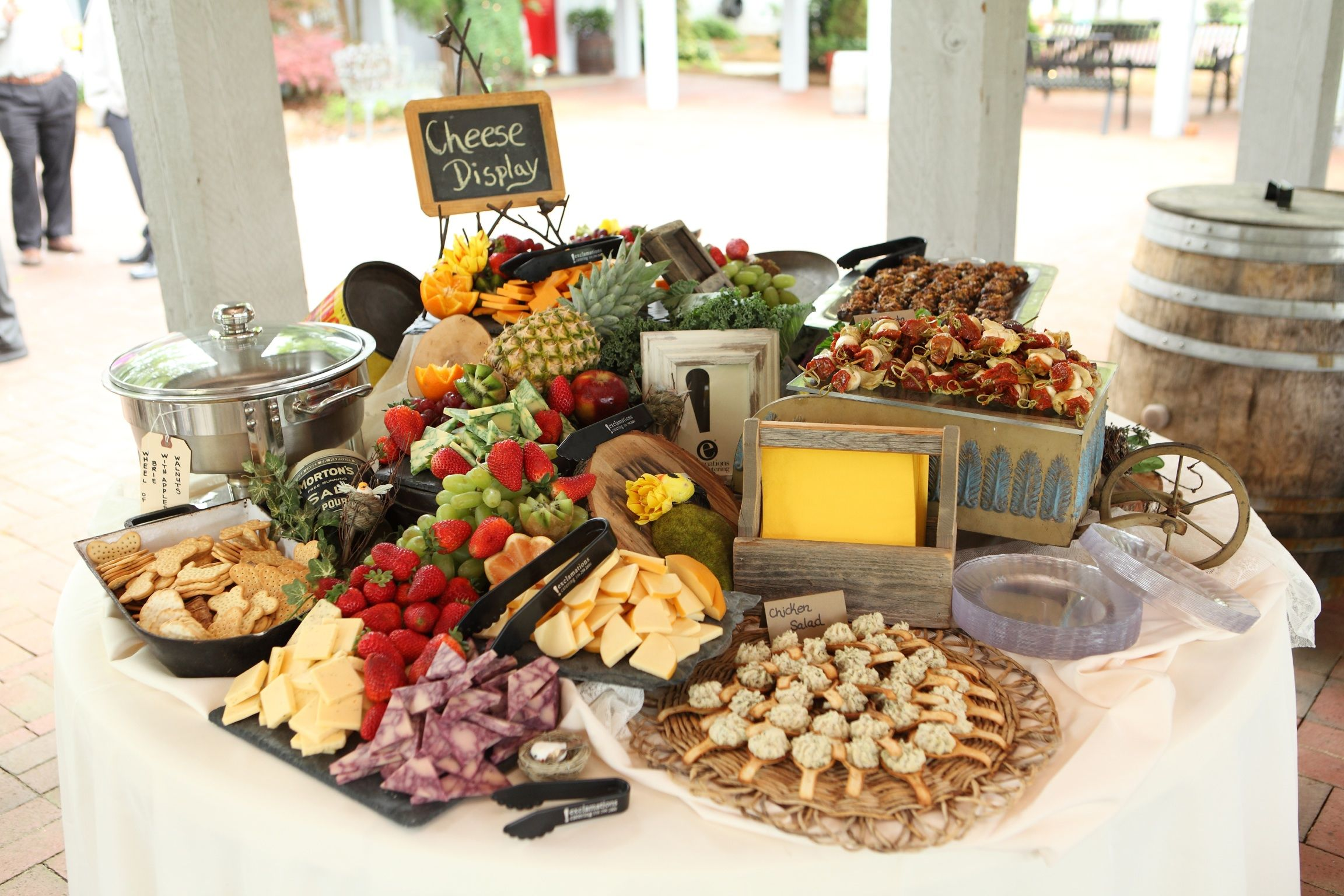 Perfect display of cheese crackers fruit finger foods etc for a