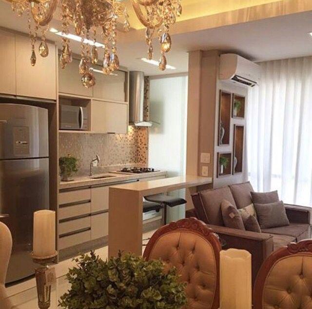 Apartamento pequeno integrado living room pinterest for Salas modernas para departamentos pequenos
