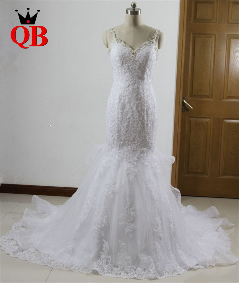 Custom made mermaid backless lace beading sexy wedding gowns wedding