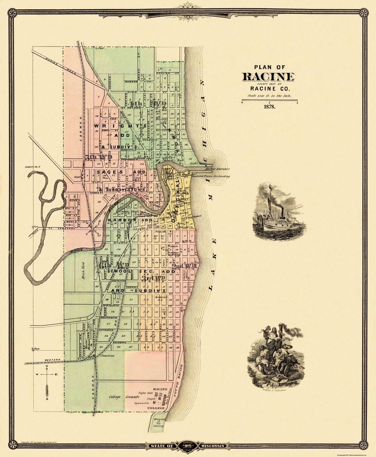 Racine Wisconsin Map.A Vintage Racine Area Map Dated 1875 Racine Wi Place To Go