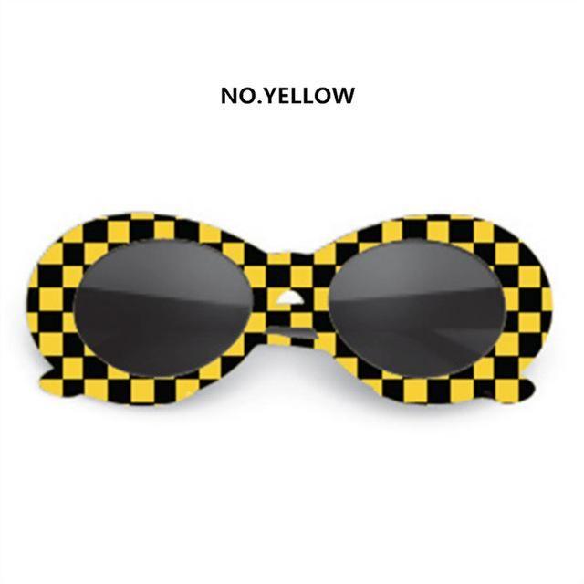 ff9806308c3b3 White Black Yellow Taxi Punk Checkered Kurt Cobain 90s Style Sunglasses