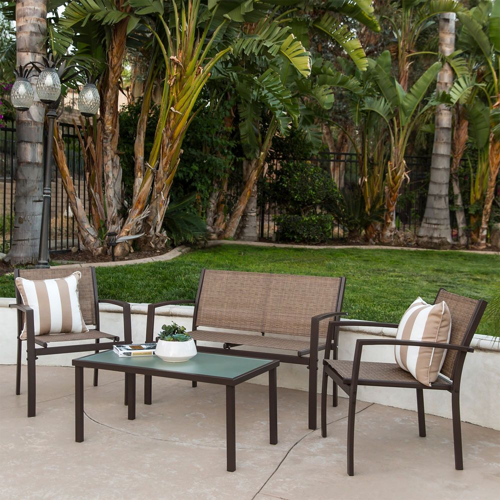 Patio Furniture Set 4 Piece Loveseat Chair Glass Coffee Table