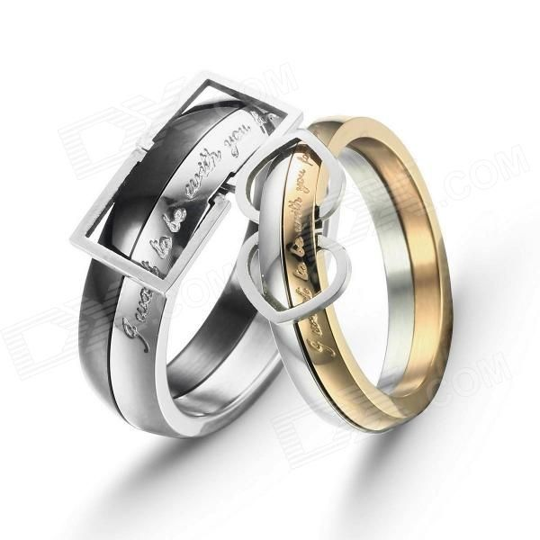 eQute COO18C2S69 Fashionable Titanium Steel Couple Rings - Black + Golden + Silver (Women 6 / Men 9) #http://tinyurl.com/pc8njus