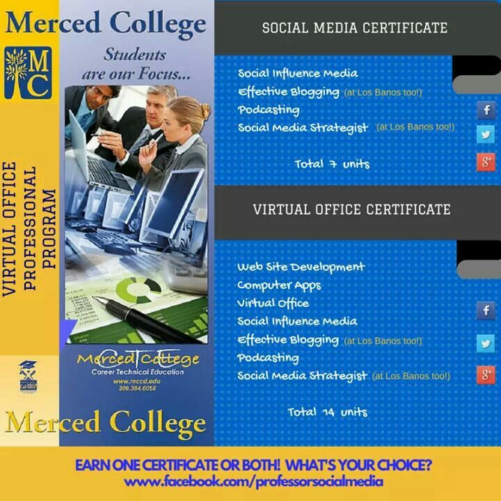 Merced College Social Media Certificate Social Media Certificate