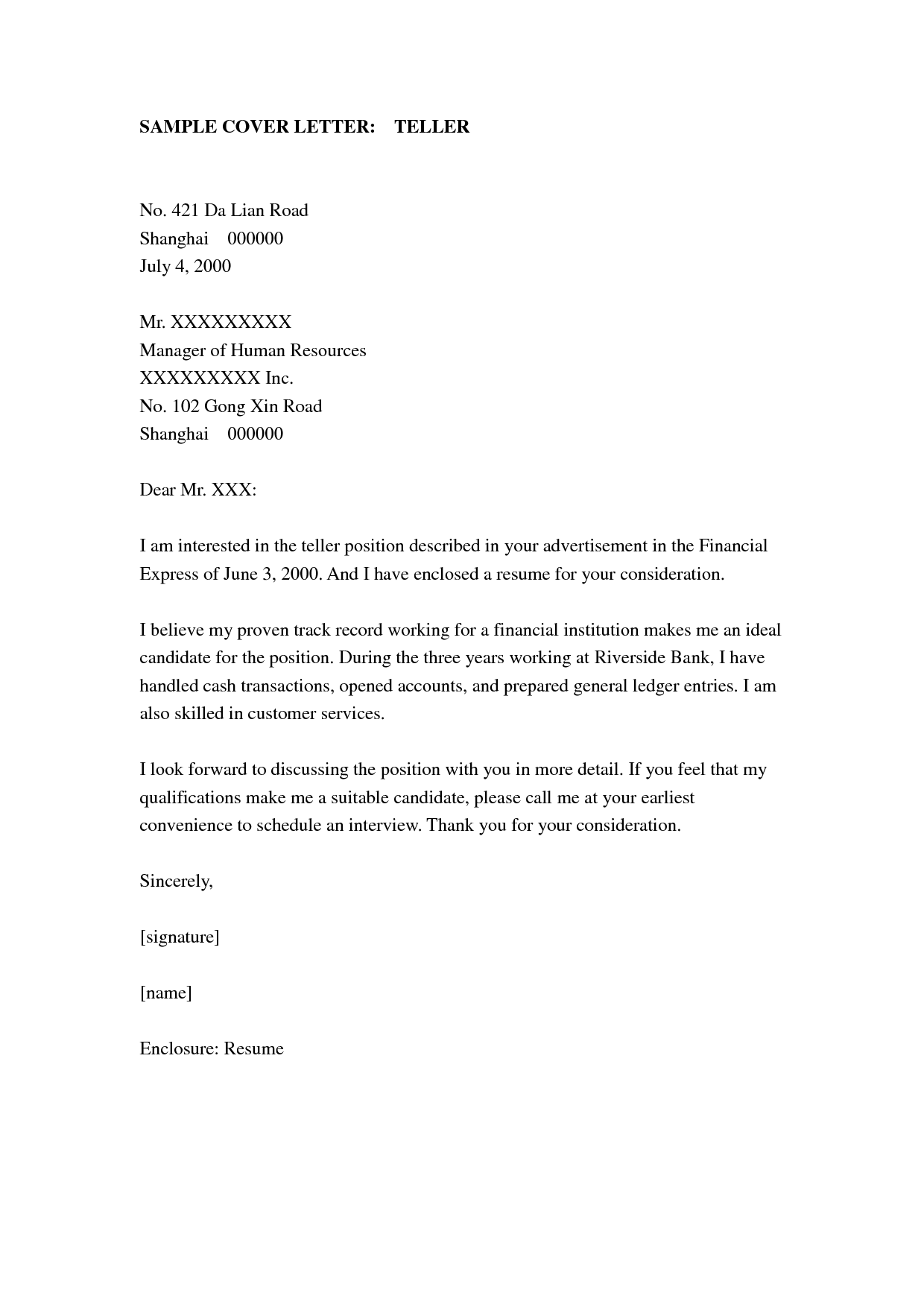Bank Teller Cover Letter Sample Sample Cover Letters