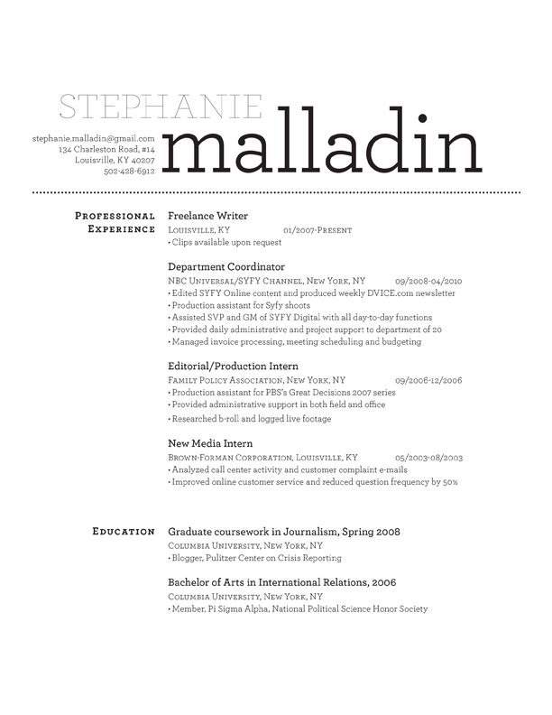 Malladin Resumé Design Design services, Resume ideas and - sample journalism resume