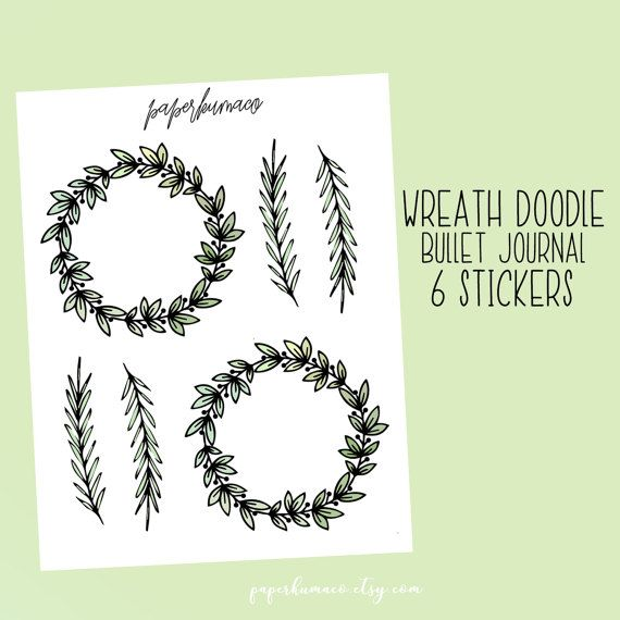 Photo of wreath doodle for bullet journals and planners – 6 stickers