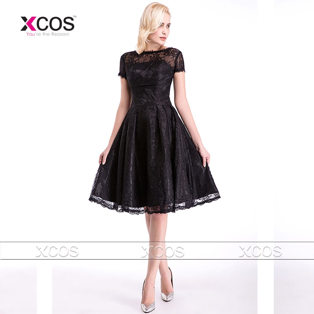 Click to Buy << Vintage Lace Black Bridesmaid Dresses Knee Length ...