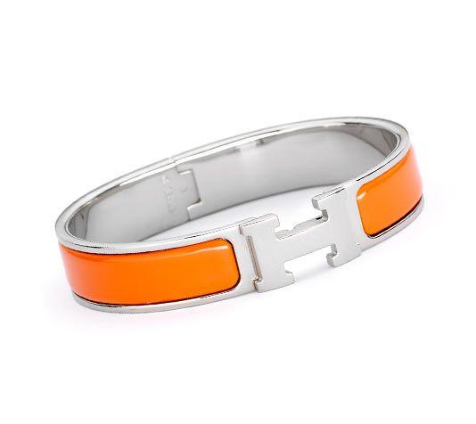 Clic H Narrow Bracelet In Silver And Palladium Plated Orange Enamel Diameter 6 Cm