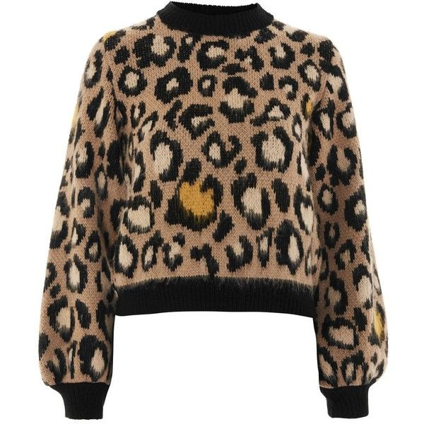 1939501deb8a Topshop Leopard Print Jumper ($49) ❤ liked on Polyvore featuring tops,  sweaters, brown, brown sweater, leopard top, topshop sweater, brown top and  acrylic ...