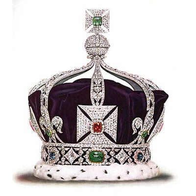 The Imperial Crown of India: it served to commemorate George V's coronation at the Dehli Durbar in 1911.  Made specifically for his trip, it has been the only crown allowed to leave the country. It features more than 6000 diamonds, and the gems included in the design are emeralds, rubies and sapphires. Believe it or not, this crown has only been worn once!