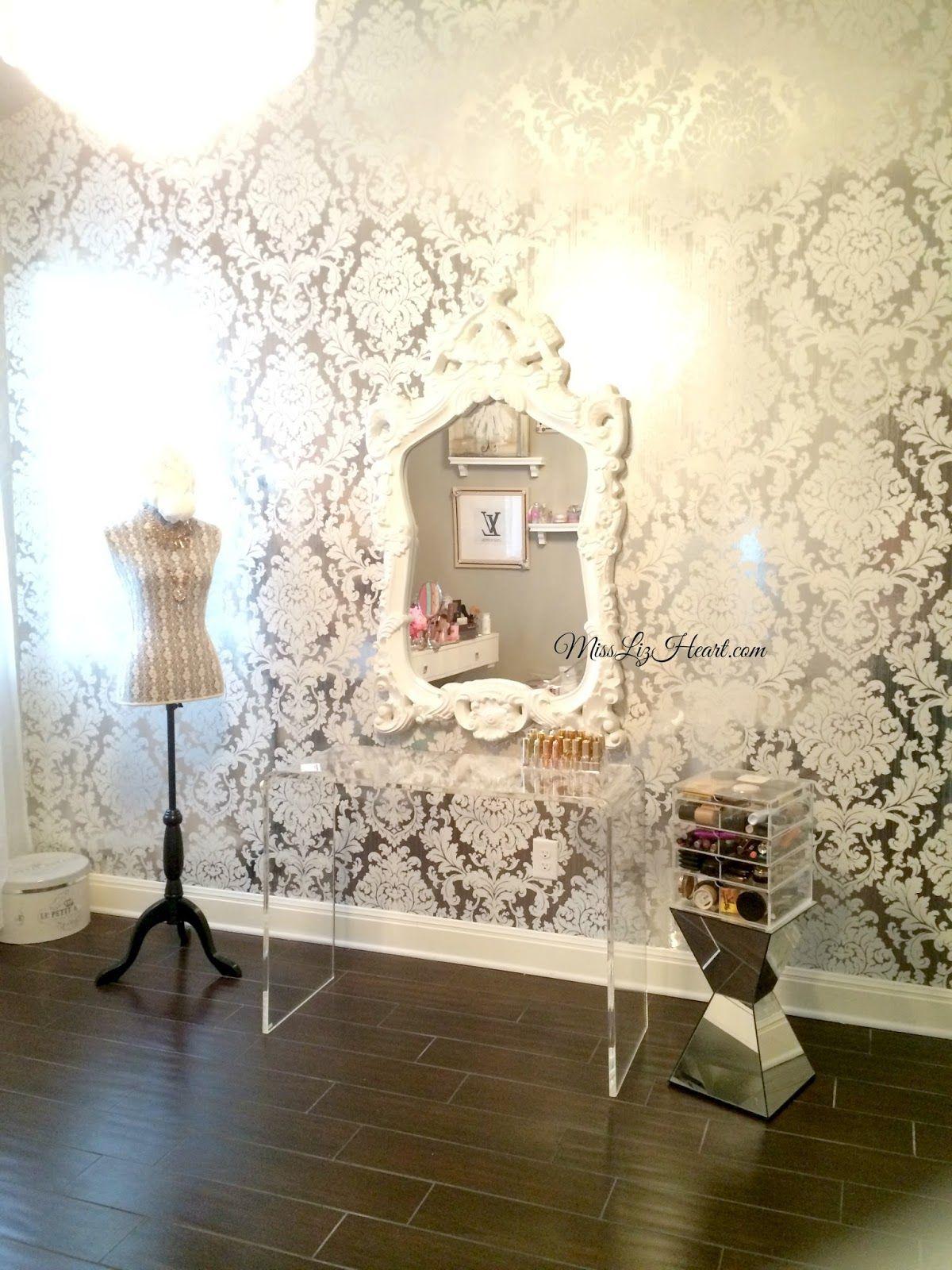 Miss Liz Heart: New Wallpaper! Makeup Room Update | Room wallpaper ...