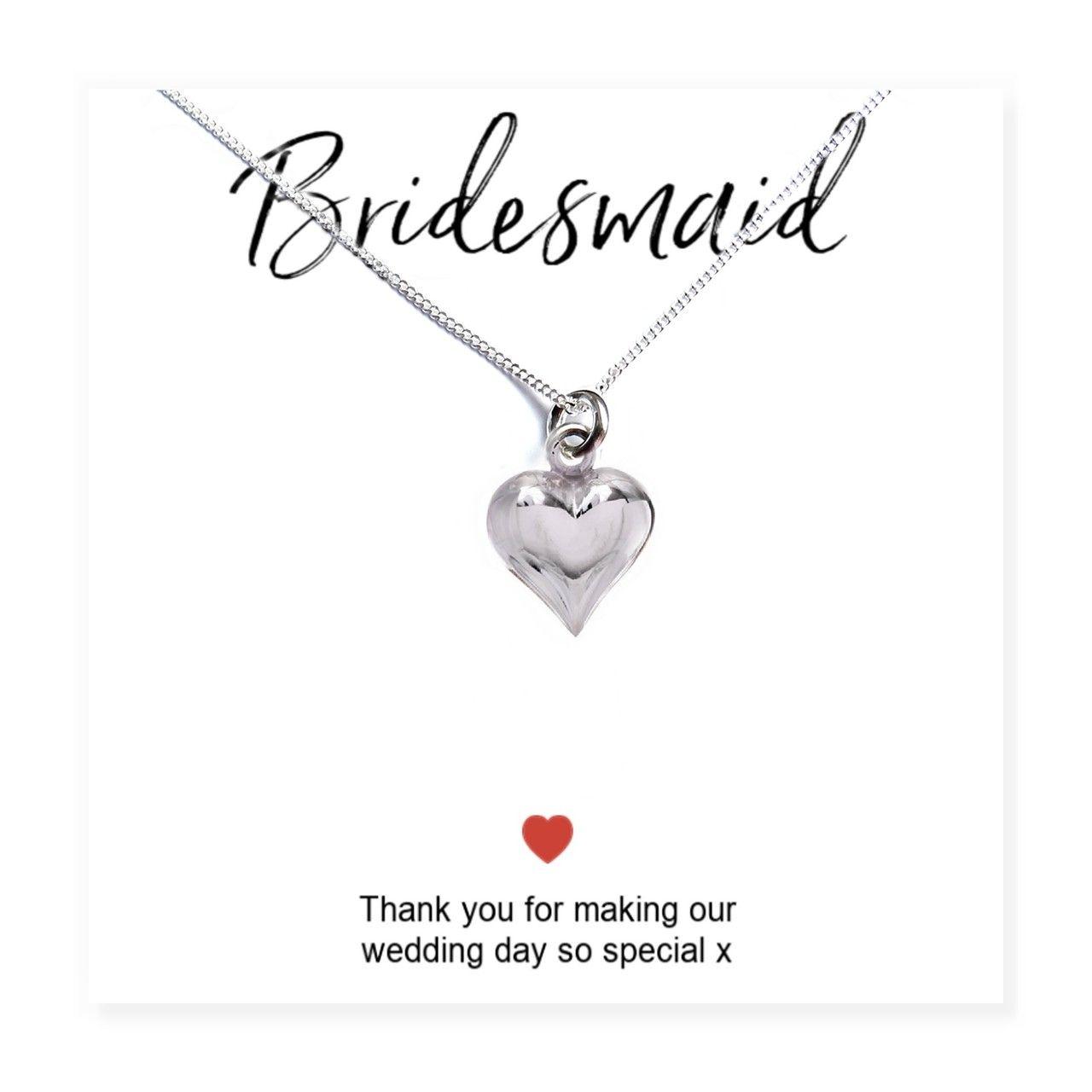 Bridesmaids heart necklace thank you card uk aye do