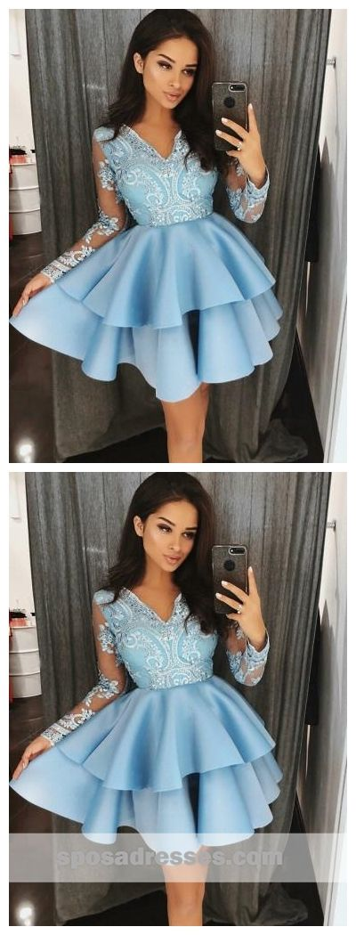 512cf293b1a Long Sleeves Blue Lace Cheap Short Homecoming Dresses Online