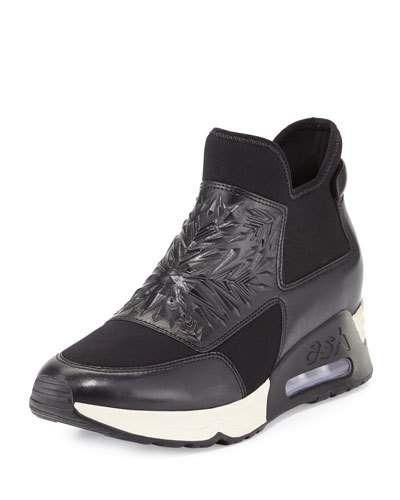 S0EX1 Ash Lazer Waxed Napa Sneaker, Black