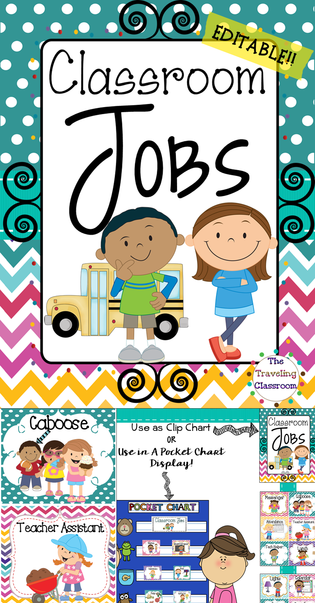 Classroom Jobs Classroom Decor Chevron Polka Dot Theme