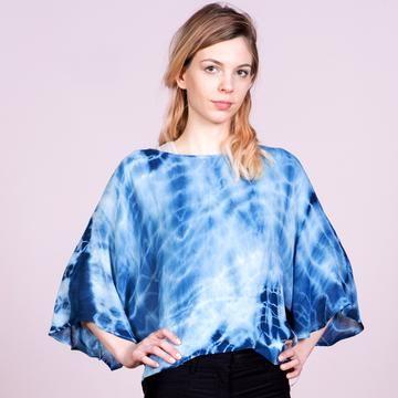 100/% Linen Genuine Indigo. Shibori dyed bell sleeve top