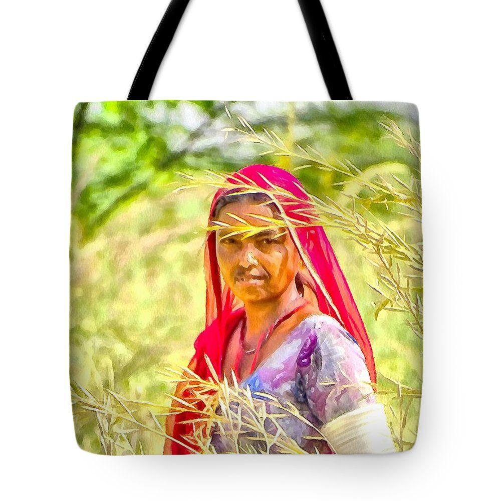 "Farmers Fields Harvest India Rajasthan 8b Tote Bag 18"" x 18"""