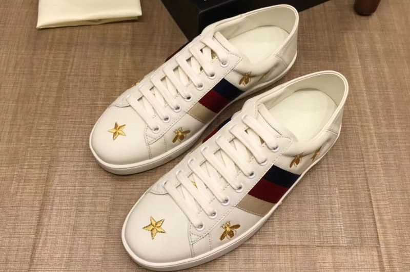 Gucci 386750 Gg Ace Embroidered Sneaker White Leather Mens And Women Size Ireplicabags Replica Louis Vuitton Bags Wallets Shoes Belts Etc Sneakers White Sneakers Leather