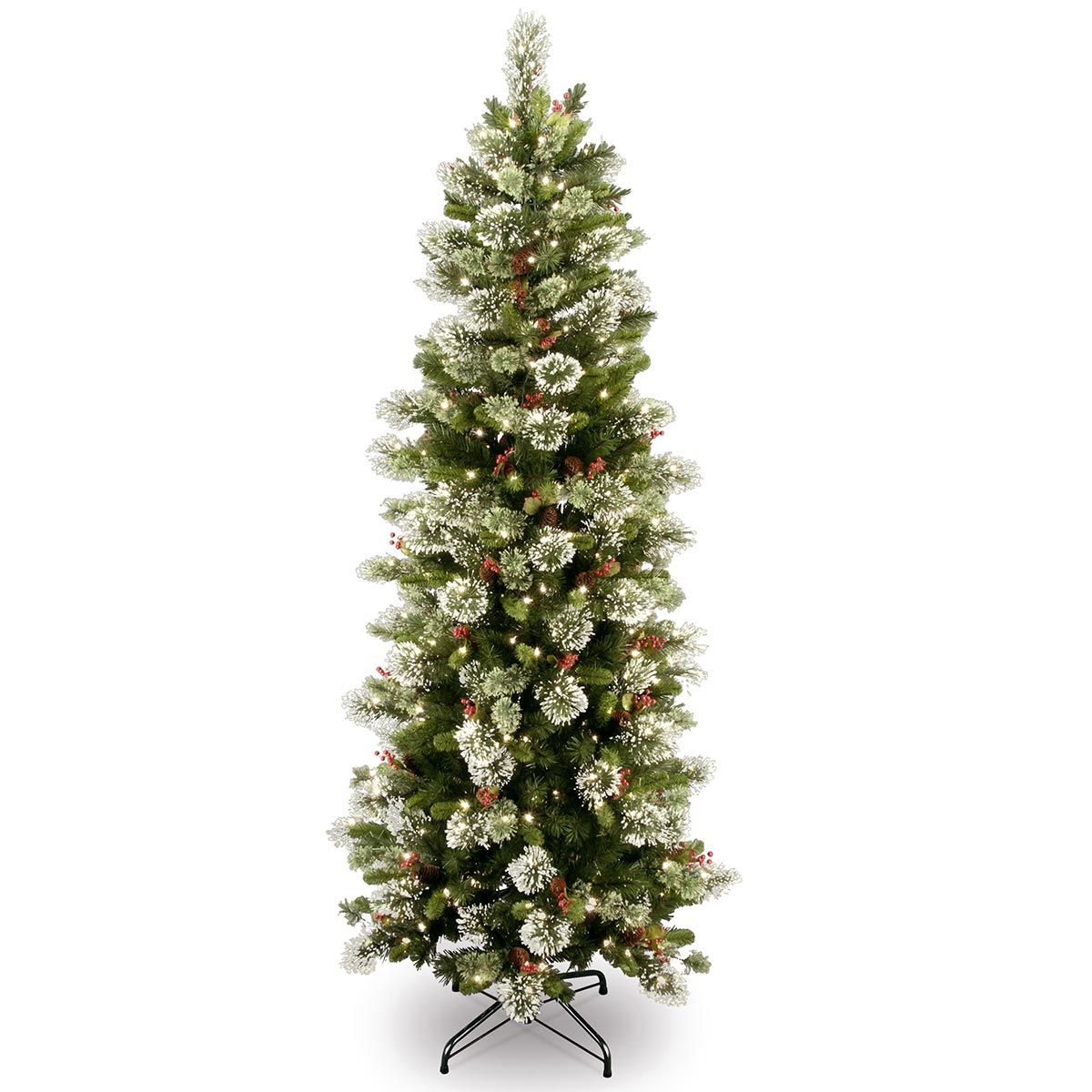 6ft Pre-lit Wintry Pine Slim Artificial Christmas Tree | Beautiful ...