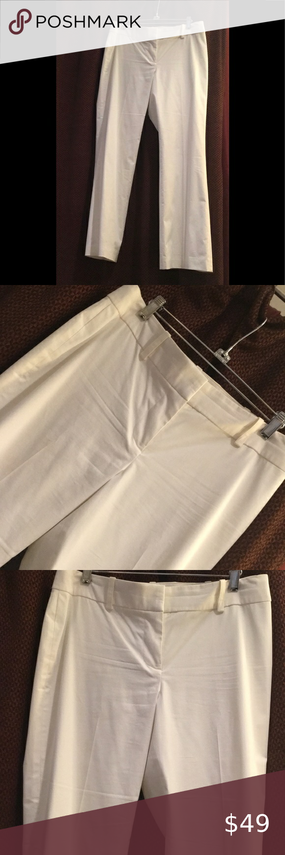 HOST PICK! White Slacks with Flat Front HOST PICK! Ann Taylor White Flat Front Slacks Size 8P Great Belt Loops (Belt not included) Never Been Worn! NWT Ann Taylor Pants Trousers #whiteslacks