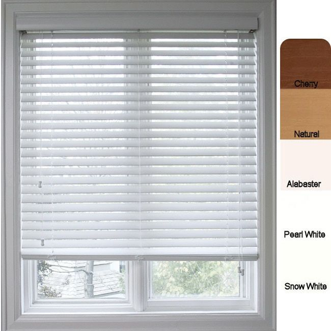 White Blinds For Windows safe-er-grip customized faux wood 33.5- inch window blinds (snow