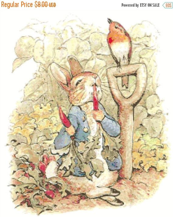 Beatrix Potter Peter Rabbit Follows Farmer McGregor Counted Cross Stitch Pattern