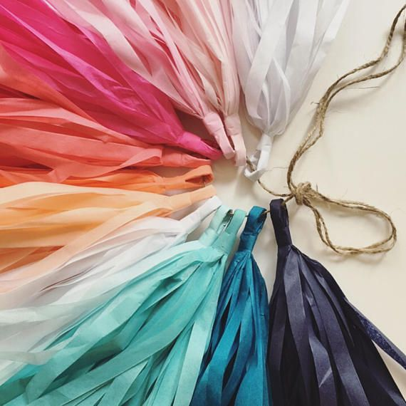 SUNSET and SEA tassel garland / tissue paper party decorations / pink quinceanera decor / blue ombre