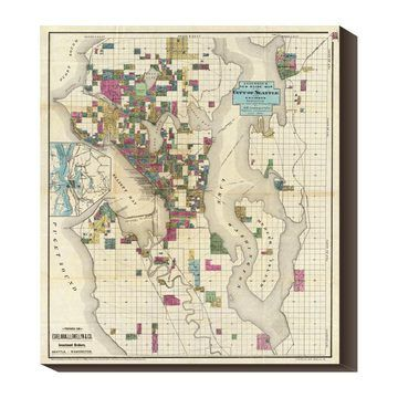 Seattle Area 1890 35 5x40 Map $174 now featured on Fab