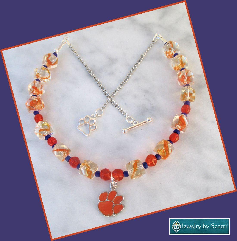 Orange Paw Charm Necklace for Clemson Fans, Clemson Tigers Inspired Jewelry, Orange Paw Necklace, Orange and Purple Jewelry, Paw Necklace