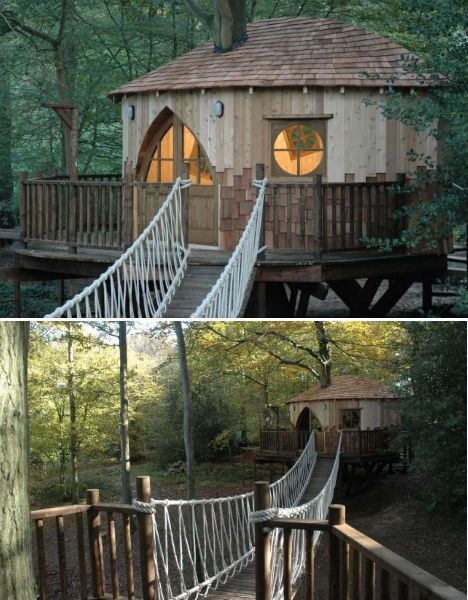 I would love a treehouse with a bridge to the houses' deck!