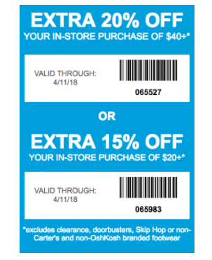 Carter S Coupon 20 Off 40 Or 15 Off 20 In Store Printable