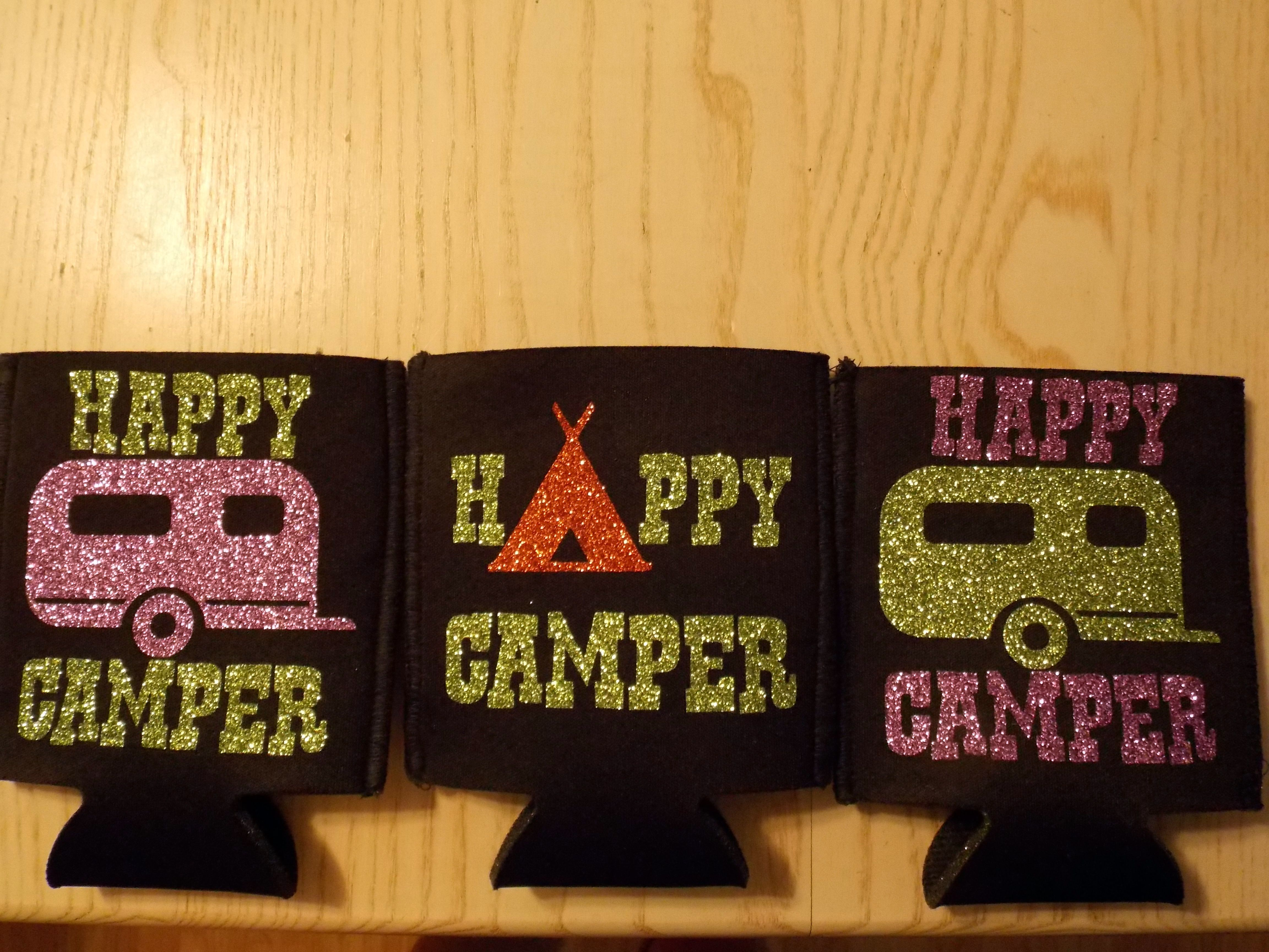 Happy Camper Koozies - Camp designs by My Vinyl Designs. | Koozies ...