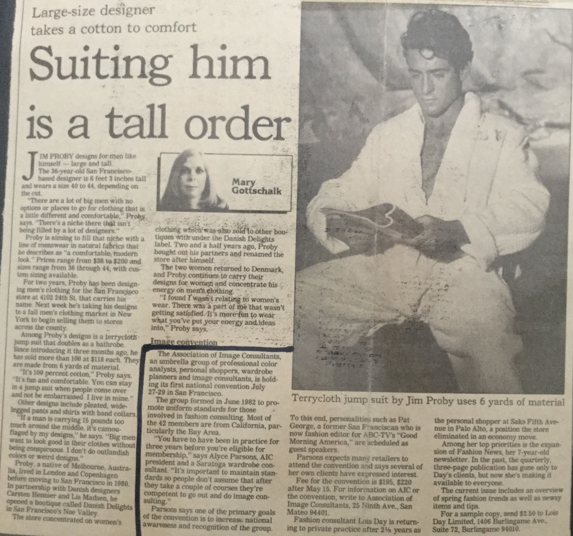 Jim Proby Inc San Francisco Mens Fashion Designs Newspaper Article