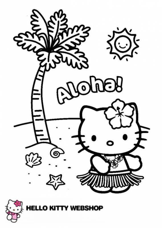 Klik hier om de Hello kitty kleurplaat