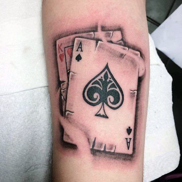 king of hearts with ace of spades mens playing card arm 600 600 tattoo 39 s. Black Bedroom Furniture Sets. Home Design Ideas