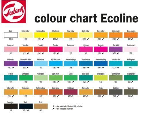 Talens Ecoline Liquid Watercolour Drawing Ink 30ml Bottle 48 Colours Available Color Chart Liquid Watercolor Lettering