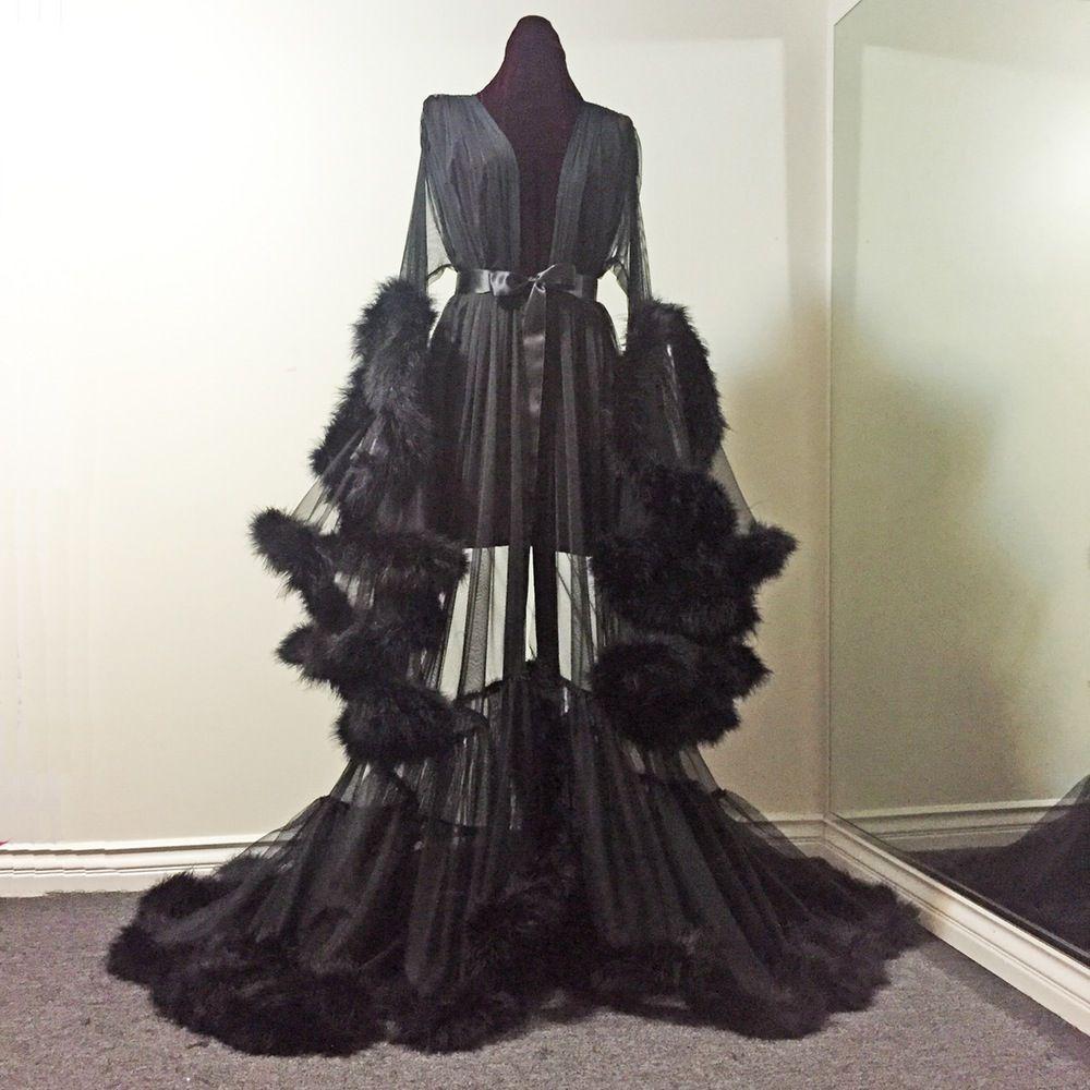 aa43cf29b4 Image of Sheer Black Marabou Dressing Gown (pre-order!)