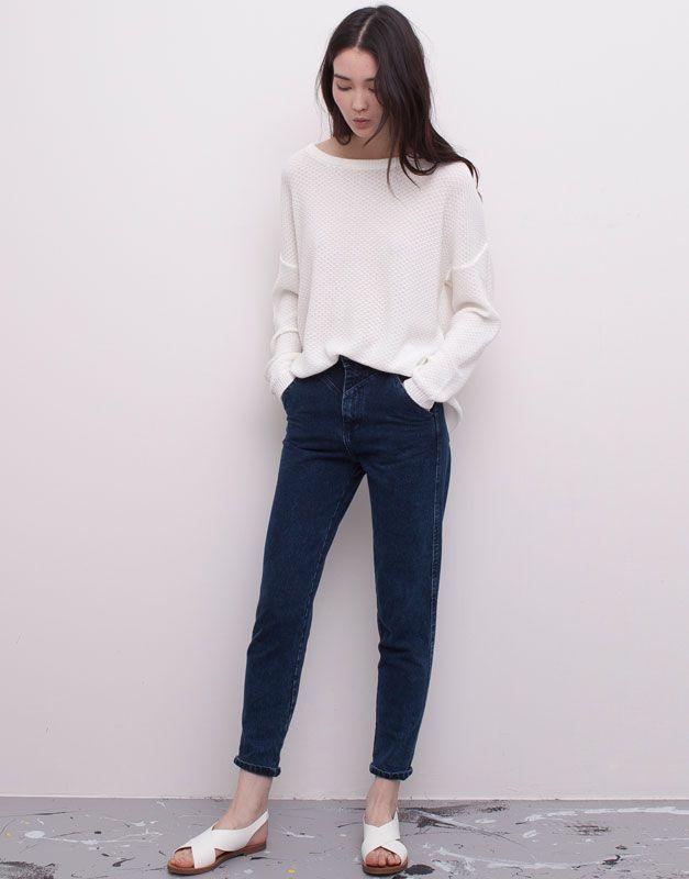 Pull&Bear - mujer - jeans - jeans mom bolsillo francés - azul oscuro - 05682317-V2015