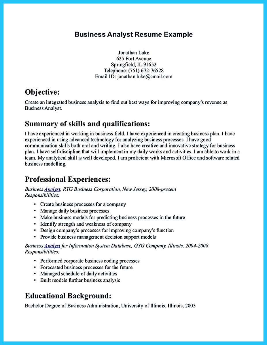 If You Are A Business Analyst And You Just Seeking For A Job In A Big Company You Should Convince Your Employer With Professional Analyst Resume Wit Check