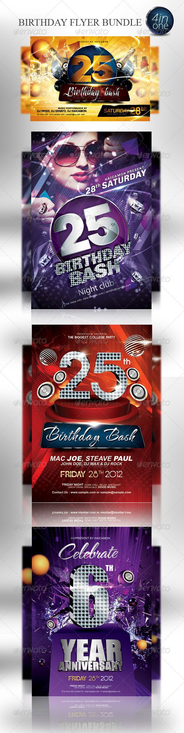 Birthday party invitation flyer bundle pinterest party birthday party invitation flyer bundle graphicriver birthday party invitation flyer bundle features 4 in one fully customizable 64 12751875px stopboris Gallery