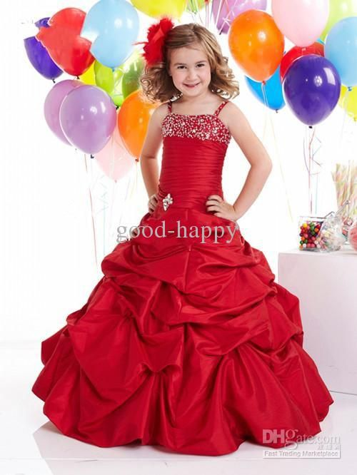 Hot Recommend Red Flower Girl Dresses Wedding Prom Gown Custom Made