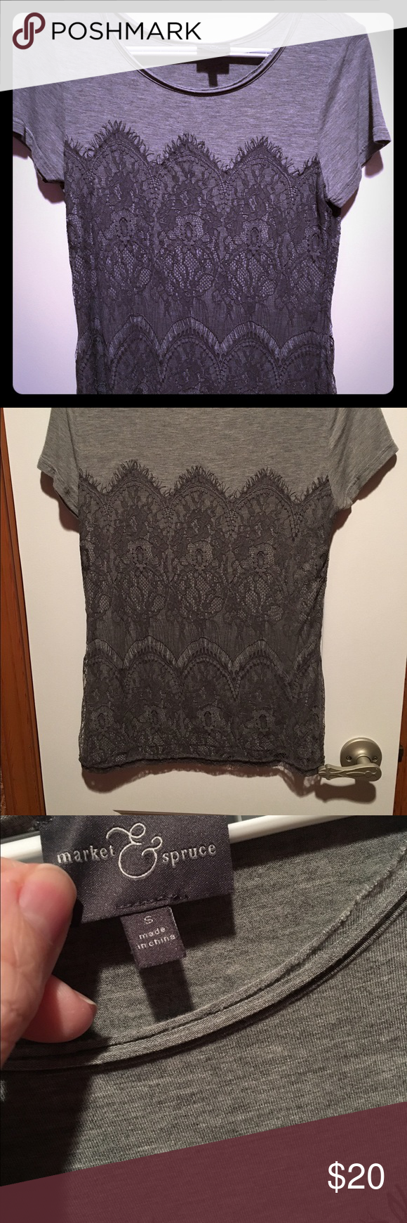 "Market & Spruce Gray Lace Top Market & Spruce top in gray with lace contrast. Cotton blend with polyester contrast. Measures approximately 25"" from shoulder to hem. Gently worn and stored in a smoke-free and pet-free home. Cold water wash on gentle cycle. Market & Spruce Tops"