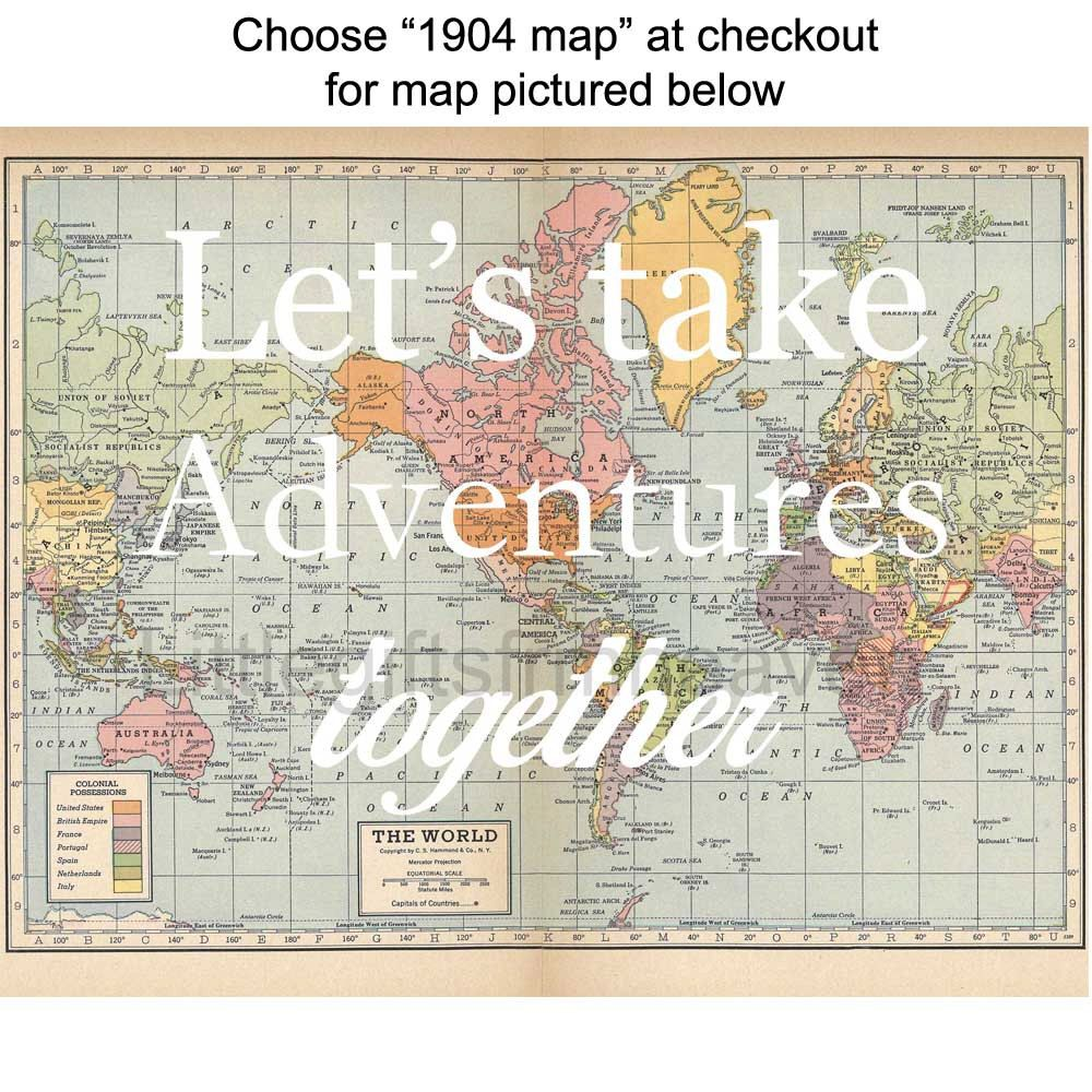 Lets take adventures together map print vintage map poster lets take adventures together map print vintage map poster canvas quote map map wall art custom couples gift travel world map canvas gumiabroncs Gallery