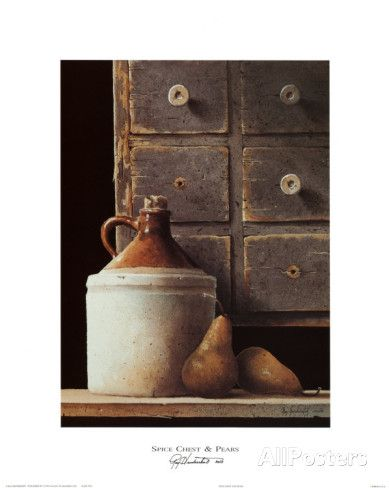 Spice Chest and Pears Art Print