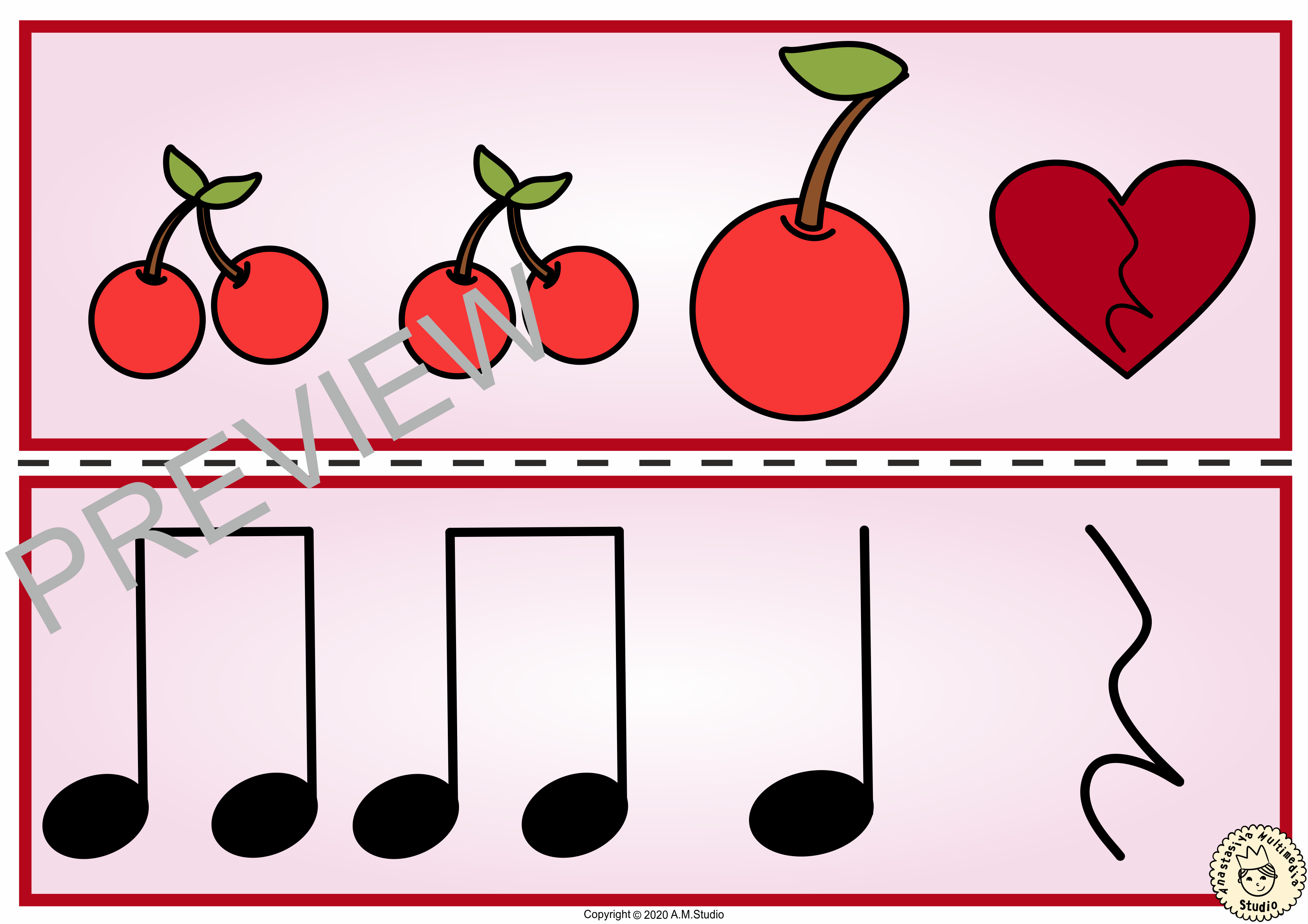 Valentine S Day Rhythm Matching Game Ta Ti Ti Rest
