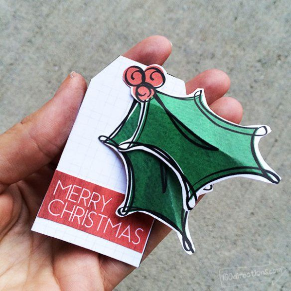 Christmas Holly Handcrafted gift tags and free printable by Jen Goode