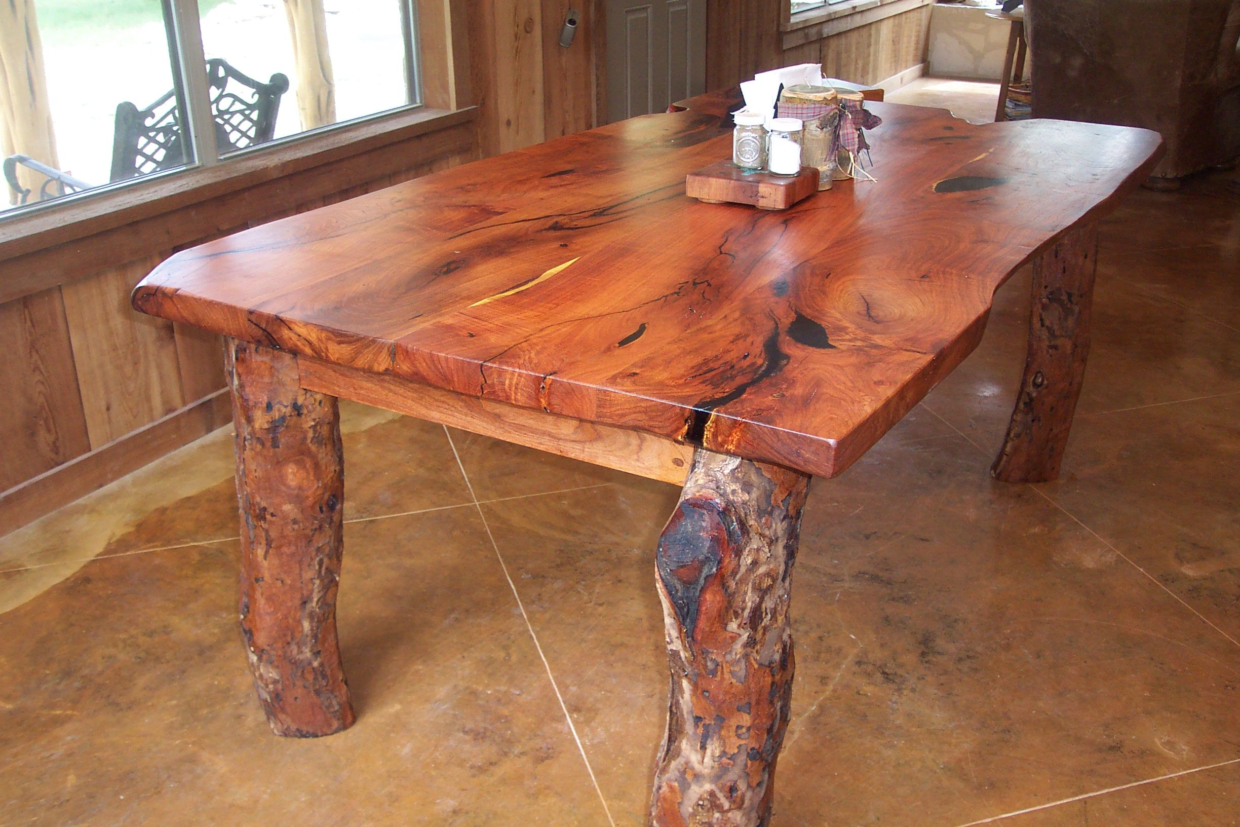 Great Texas Mesquite Table With Small Mesquite Logs As Table Legs.